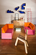 ROLU 'A Set for Making Love' furniture series and 'Everything is always changing all the time' (by ROLU for ARP), UM Project FWD Credenza and L.U.M. lamp, Colene Blanchet and Robert Peavey 'I Lurv N.Y.', Faktura Tower chair, Jesse Trentadue 'Timbre Chair',