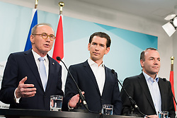 21.09.2019, Bundesparteizentrale, Wien, AUT, ÖVP, Pressekonferenz nach Bundesparteivorstand mit Kandidatenliste für die EU-Wahl. im Bild ÖVP-Spitzenkandidat zur Europawahl Othmar Karas, Bundeskanzler Sebastian Kurz (ÖVP) und EVP-Spitzenkandidat zur Europawahl Manfred Weber // MEP Othmar Karas (European Peoples Party), Austrian Federal Chancellor Sebastian Kurz and MEP Manfred Weber (European Peoples Party) during presentation of the candidates for Eurpean Parliment Elections of the Austrian People' s Party in Vienna, Austria on 2019/01/21. EXPA Pictures © 2019, PhotoCredit: EXPA/ Michael Gruber