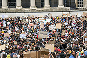 Dozens of human rights activists in Britain's capital London kneel in Trafalgar Square on Sunday, May 31, 2020 - in solidarity with black people in America and a symbolic stand against racism across the world. Protests continue across the United States following the death of George Floyd, who died after being restrained by Minneapolis police officers on Memorial Day. (Photo/ Vudi Xhymshiti)