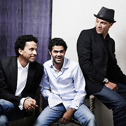Hors La Loi's actors Sami Bouajila, Jamel Debbouze and Roschdy Zem at the 63rd Cannes Film Festival. France. 21 May 2010. Photo: Antoine Doyen