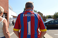 Crystal Palace fan wearing an 'Eagles No.1' fans  shirt. Barclays Premier league match, Crystal Palace v Aston Villa at Selhurst Park in London on Saturday 22nd August 2015.<br /> pic by John Patrick Fletcher, Andrew Orchard sports photography.
