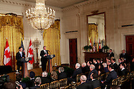 President Donald Trump and  Prime Minister Justin Trudeau  at a brief press conference in the East Room of the White House on February 13, 2017<br /> <br /> Photo by Dennis Brack