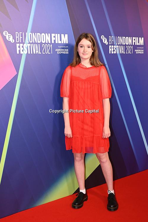 Bronte Carmichael attended Robin Robin European Premiere at BFI Southbank, London, UK. 9 Ocyober 2021.