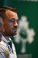 Ireland player Cian Healy speaks to the press. RWC 2015,  Ireland rugby press conference at the Hilton Hotel in Cardiff, South Wales  on Friday 16th October 2015. The Ireland team are preparing for their quarter final match against Argentina on Sunday.<br /> pic by  Andrew Orchard, Andrew Orchard sports photography.
