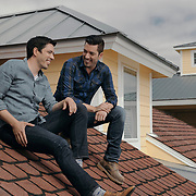 Celebrity designers and brothers, Drew and Jonathan Scott hang out on the roof of a local condo during a production day for their HGTV show, Brother vs Brother, Wednesday, February 15, 2017 in Galveston, Texas. Season five of the show airs later this year.<br /> <br /> Todd Spoth for The New York Times.