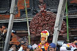 September 15, 2016 - Kathmandu, Nepal - Devotees carrying God 'Bhairab' for the chariot pulling festival on the third day of Indra Jatra Festival celebrated at Basantapur Durbar Square, Kathmandu. Devotees celebrated the god of rain 'Indra' for 8 days in Kathmandu. (Credit Image: © Narayan Maharjan/Pacific Press via ZUMA Wire)