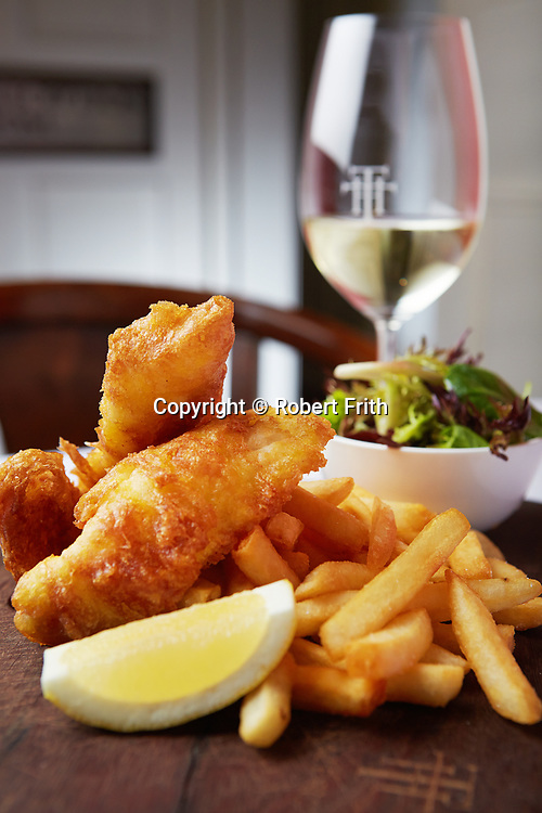 Quick lunch: beer battered fish, tat are sauce, fries, house salad, lemon