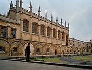 "Christ Church Great Hall at Oxford University. A ""Bulldog,"" one of the University Constables stands guard in the courtyard. The private police force existed from 1829 to 2003. The force disbanded due to the costs of upgrading equipment and training."