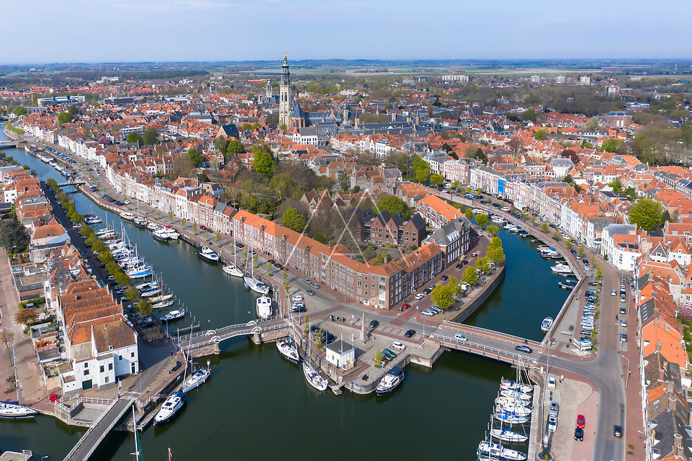 Aerial view of Middelburg with the Koorkerk in the center, Middelburg, Zeeland, Netherlands.