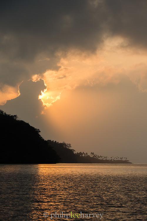 View across the Fjord at sunrise, Tufi, Cape Nelson, Oro Province, Papua New Guinea