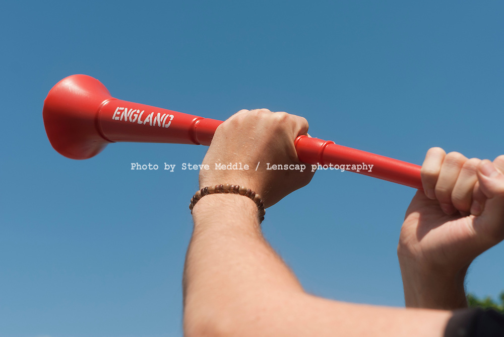 """Vuvuzela or """"lepatata"""" Stadium Horns in England Colours are now on sale here in Uk shops ready for England's next world cup performance - 17th June 2010"""