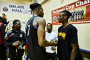 DUBLIN, IRELAND - August 15, 2018:  Aidan and his brother Brandon share a moment after the Dublin Lions exhibition game at Oblate Hall.<br /> <br /> Photo by: Johnnie Izquierdo