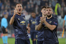 November 7, 2018 - Turin, Turin, Italy - Nemanja Matic #31 of Manchester United and Luke Shaw #23 of Manchester United celebrate a victory at the end of the UEFA Champions League group H match between Juventus FC and Manchester United at Allianz Stadium on November 07, 2018 in Turin, Italy. (Credit Image: © Giuseppe Cottini/NurPhoto via ZUMA Press)
