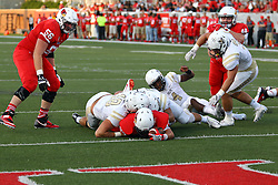 03 September 2016:  DeMarco Corbin lays on the turf short of the goal line, after breaking the plane for a touchdown. NCAA FCS Football game between Valparaiso Crusaders and Illinois State Redbirds at Hancock Stadium in Normal IL (Photo by Alan Look)