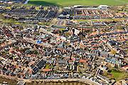 Nederland, Friesland, Gemeente Sudwest-Fryslan, 16-04-2012; Bolsward (Boalsert), centrum met Broerekerk (rechts, met glazen dak), Stadhuis en Sint-Franciscuskerk (midden, baksteen)..Frisian city of Bolsward..luchtfoto (toeslag), aerial photo (additional fee required).foto/photo Siebe Swart