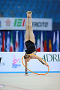 """Berniak Weronika during hoop routine at the International Tournament of rhythmic gymnastics """"Città di Pesaro"""", 01 April, 2016. Weronika is a Polish individualistic gymnast, born onNovember 14, 2002 in Krakow.<br /> This tournament dedicated to the youngest athletes is at the same time of the World Cup."""