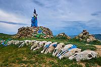 Mongolie, Ovorkhangai, Kharkhorin, Ovo, monument bouddhiste, crane de chevaux // Mongolia, Ovorkhangai, Kharkhorin, Ovo, buddhist monument, horse's skull