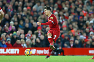 Roberto Firmino of Liverpool looks to shoot at goal. Premier League match, Liverpool v Leicester City at the Anfield stadium in Liverpool, Merseyside on Saturday 30th December 2017.<br /> pic by Chris Stading, Andrew Orchard sports photography.