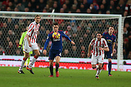Ander Herrera of Manchester Utd in action (c). Premier league match, Stoke City v Manchester Utd at the Bet365 Stadium in Stoke on Trent, Staffs on Saturday 21st January 2017.<br /> pic by Andrew Orchard, Andrew Orchard sports photography.