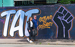 Edinburgh, Scotland, UK. 11 June 2020. Anti-racism graffiti has appeared on a street in Edinburgh. Iain Masterton/Alamy Live News