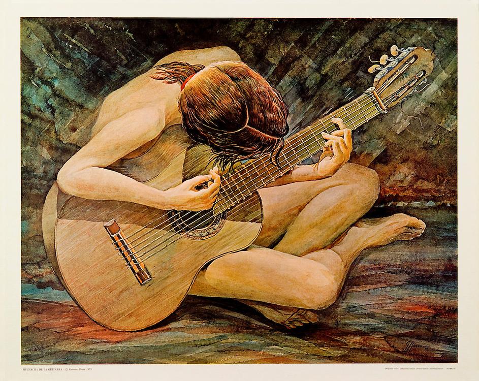 """Cat. #28 - Print of a watercolor painting of a girl sitting on the floor playing a guitar. Printed in Italy on heavy weight, canvas textured stock.<br /> Paper size is 21 3/4 x 17 5/8"""". Image size is approximately 20 x 16"""" <br /> Cat. #28 - Impresión de una pintura en acuarela de una muchacha sentada en el suelo tocando una guitarra. Impreso en Italia en papel con textura de tela y grueso.<br /> Tamaño del papel es 21 3/4 x 17 5/8"""". Tamaño de la imagen es aproximadamente 20 x 16"""""""