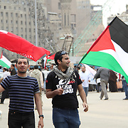 Waving Tunisian and Palestinian flags, two protesters express their solidarity with the issues of the wider Middle East.