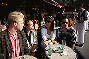 University students at a cafe on the Boulevard St. Michael. Paris, France. MODEL RELEASED.
