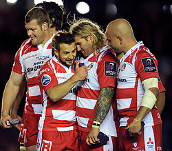Greig Laidlaw of Gloucester Rugby celebrates with team-mate Richard Hibbard - Photo mandatory by-line: Patrick Khachfe/JMP - Mobile: 07966 386802 01/05/2015 - SPORT - RUGBY UNION - London - The Twickenham Stoop - Edinburgh Rugby v Gloucester Rugby - European Rugby Challenge Cup Final