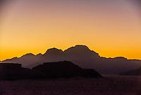 Twilight, Arabian Desert, Wadi Rum, Jordan.