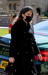 Princess Eugenie arrives for the funeral of the Duke of Edinburgh at St George's Chapel, Windsor Castle, Berkshire. Picture date: Saturday April 17, 2021.