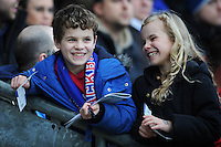Young Blackburn Rovers fans are all smiles before todays match<br /> <br /> Photographer Kevin Barnes/CameraSport<br /> <br /> Football - The FA Cup Fifth Round - Blackburn Rovers v Stoke City - Saturday 14th February 2015 -  Ewood Park - Blackburn<br /> <br /> © CameraSport - 43 Linden Ave. Countesthorpe. Leicester. England. LE8 5PG - Tel: +44 (0) 116 277 4147 - admin@camerasport.com - www.camerasport.com