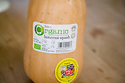 Close up of label of organic butternut squash bought from Tesco supermarket