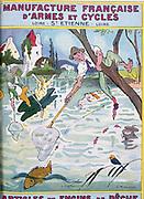 Cover of catalogue of Manufrance (Manufacture Francaise d'Armes et Cycles) Saint Etienne, c1920.  A large fish outwitting amateur fishermen. Rod Line Net Boat Comedy