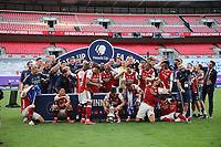 Football - 2020 Emirates 'Heads Up' FA Cup Final - Arsenal vs. Chelsea <br /> <br /> The trophy is dropped during the Arsenal celebrations, at Wembley Stadium.<br /> <br /> The match is being played behind closed doors because of the current COVID-19 Coronavirus pandemic, and government social distancing/lockdown restrictions.