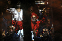 16.05.2015, Kairo, EGY, Mohamed Mursi Prozess, im Bild Ein Gericht in Kairo hat den ehemaligen ägyptischen Präsidenten Mohammed Mursi wegen Spionage heute zum Tode verurteilt. // Muslim Brotherhood's Supreme Guide Mohamed Badie sits behind bars with other Muslim Brotherhood members at a court in the outskirts of Cairo, Egypt May 16, 2015. An Egyptian court on Saturday sought the death penalty for former president Mohamed Mursi and more than 100 other members of the Muslim Brotherhood in connection with a mass jail break in 2011. Photo by Stringer, Egypt on 2015/05/16. EXPA Pictures © 2015, PhotoCredit: EXPA/ APAimages/ Stringer<br /> <br /> *****ATTENTION - for AUT, GER, SUI, ITA, POL, CRO, SRB only*****