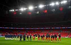 LONDON, ENGLAND - Thursday, October 8, 2020: England and Wales players line-up before the International Friendly match between England and Wales at Wembley Stadium. The game was played behind closed doors due to the UK Government's social distancing laws prohibiting supporters from attending events inside stadiums as a result of the Coronavirus Pandemic. England won 3-0. L-R Ben Davies, goalkeeper Wayne Hennessey, Joe Rodon, Connor Roberts, Ethan Ampadu, Tyler Roberts, Chris Mepham, Joseff Morrell, Jonathan Williams, Rabbi Matondo, Kieffer Moore. (Pic by David Rawcliffe/Propaganda)