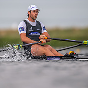Robbie Manson  , New Zealand elite  Mens Single Scull <br /> <br /> Racing the heats at FISA World Rowing Cup III on Friday 12 July 2019 at the Willem Alexander Baan,  Zevenhuizen, Rotterdam, Netherlands. © Copyright photo Steve McArthur / www.photosport.nz