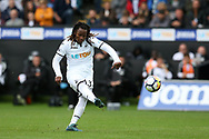 Renato Sanches of Swansea city takes a free-kick at goal in the 2nd half.  Premier league match, Swansea city v Newcastle Utd at the Liberty Stadium in Swansea, South Wales on Sunday 10th September 2017.<br /> pic by  Andrew Orchard, Andrew Orchard sports photography.