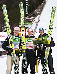 18.03.2011, Planica, Kranjska Gora, SLO, FIS World Cup Finale, Ski Nordisch, Skiflug Einzelwertung, im Bild Podium v.l. Martin Koch (AUT, 3. Platz), Thomas Morgenstern (AUT, 2. Platz) und Gregor Schlierenzauer (AUT, 1. Platz) // v.l. Martin Koch (AUT, 3. place), Thomas Morgenstern (AUT, 2. place) and Gregor Schlierenzauer (AUT, 1. place)  during Individual results of the Ski Jumping World Cup finals in Planica, Slovenia, 18/3/2011. EXPA Pictures © 2011, PhotoCredit: EXPA/ J. Groder
