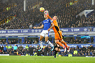Leicester City Goalkeeper Kasper Schmeichel gets to the ball just ahead of Dominic Calvert-Lewin of Everton. Premier league match, Everton v Leicester City at Goodison Park in Liverpool, Merseyside on Wednesday 31st January 2018.<br /> pic by Chris Stading, Andrew Orchard sports photography.