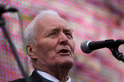© Under licence to London News Pictures. 14/03/14 Tony Benn has died aged 88. FILE PICTURE:  08/10/2011. LONDON, UK. Tony Benn addresses the crowd at the Anti War Mass Assembly in Trafalgar Square. The rally was held to coincide with the 10th anniversary of the invasion of Afghanistan. Photo credit :  Cliff Hide/LNP