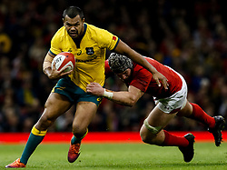 Kurtley Beale of Australia is tackled by Dan Lydiate of Wales<br /> <br /> Photographer Simon King/Replay Images<br /> <br /> Under Armour Series - Wales v Australia - Saturday 10th November 2018 - Principality Stadium - Cardiff<br /> <br /> World Copyright © Replay Images . All rights reserved. info@replayimages.co.uk - http://replayimages.co.uk