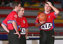 Judges at basketball match between Geoplin Slovan and Zadar in 22nd round of NLB league, on February 23, 2008, in arena Kodeljevo in Ljubljana, Slovenia. Win of Geoplin Slovan 78:73. (Photo by Vid Ponikvar / Sportal Images)
