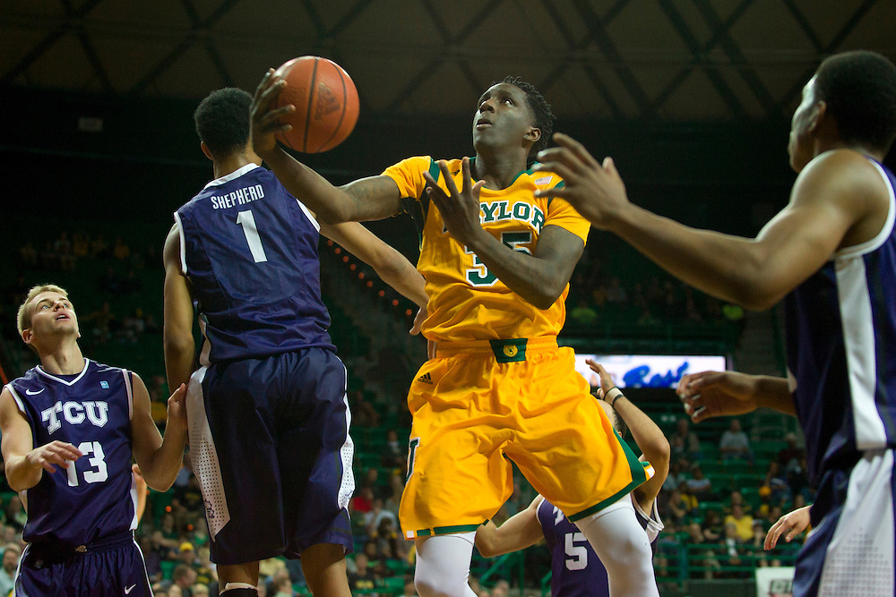 WACO, TX - JANUARY 11: Taurean Prince #35 of the Baylor Bears drives to the basket against the TCU Horned Frogs on January 11, 2014 at the Ferrell Center in Waco, Texas.  (Photo by Cooper Neill/Getty Images) *** Local Caption *** Taurean Prince