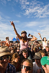 Fans of The Wombats on the main stage..Sunday, Rockness 2009..©2009 Michael Schofield. All Rights Reserved..