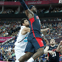 10 August 2012: USA LeBron James goes for the dunk during 109-80 Team USA victory over Team Argentina, during the men's basketball semi-finals, at the North Greenwich Arena, in London, Great Britain.