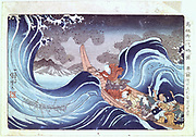 The Buddhist Monk Calms the Storm':  Coloured woodblock print. Utagawa Kunyoshi, (c1797-1851) Japanese artist and printmaker.