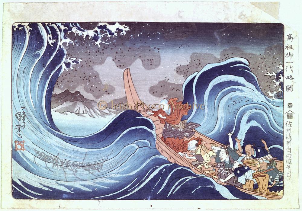 The Buddhist Monk Calms the Storm':  Coloured woodblock print. Utagawa Kunyoshi, (c1797-1851) Japanese artist and printmaker.