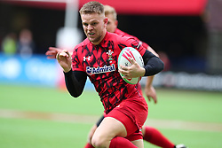 March 9, 2019 - Vancouver, BC, U.S. - VANCOUVER, BC - MARCH 09:  Ethan Davies (7)  of Whales runs the ball against The United States during day 1 of the 2019 Canada Sevens Rugby Tournament on March 9, 2019 at BC Place in Vancouver, British Columbia, Canada. (Photo by Devin Manky/Icon Sportswire) (Credit Image: © Devin Manky/Icon SMI via ZUMA Press)