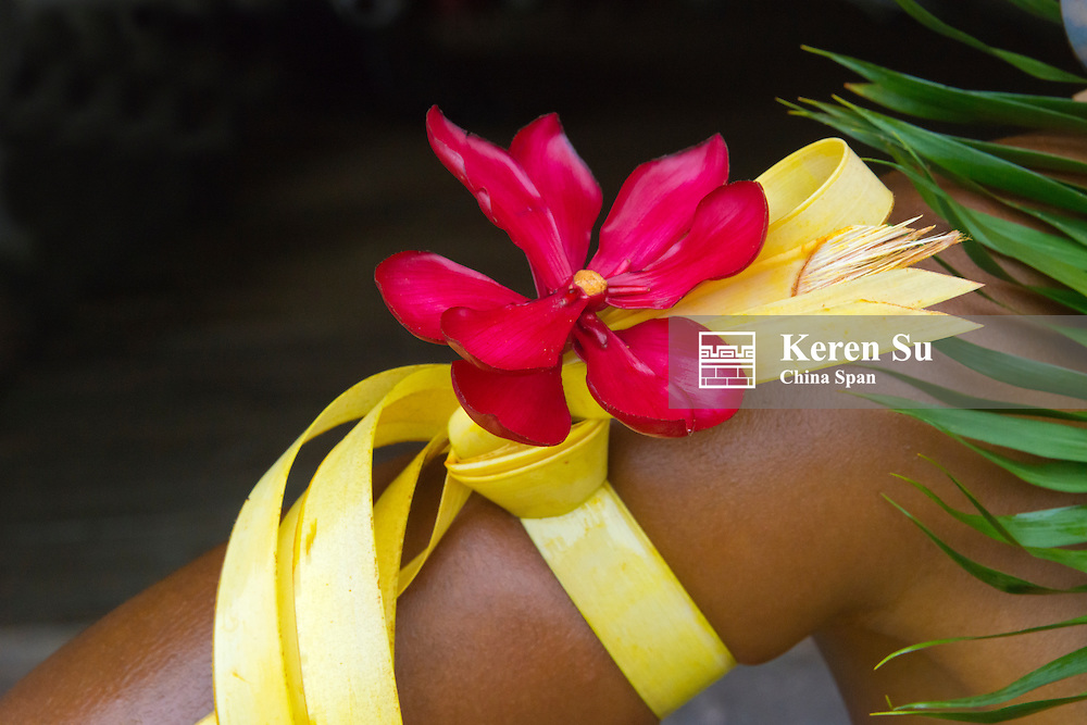 Yapese man in traditional clothing wearing flower on the arm at Yap Day Festival, Yap Island, Federated States of Micronesia